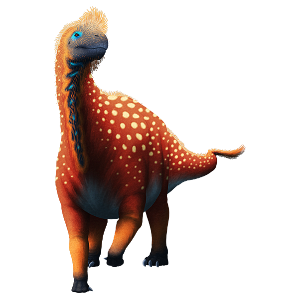 An illustration of an extinct sauropod dinosaur. It has the long neck and tail typical of sauropods, along with stump-like front feet that only have a single thumb claw. It also has speculative bristle-like feathers on its face, neck, back, and tail.