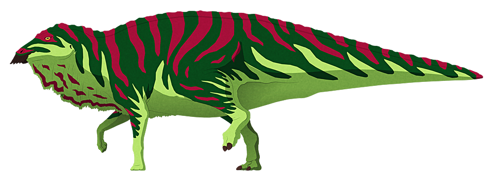 A stylized illustration of a hadrosaur dinosaur. It has an odd-looking serrated beak, a chunky body, and slender limbs – with no claws on its forefeet at all.