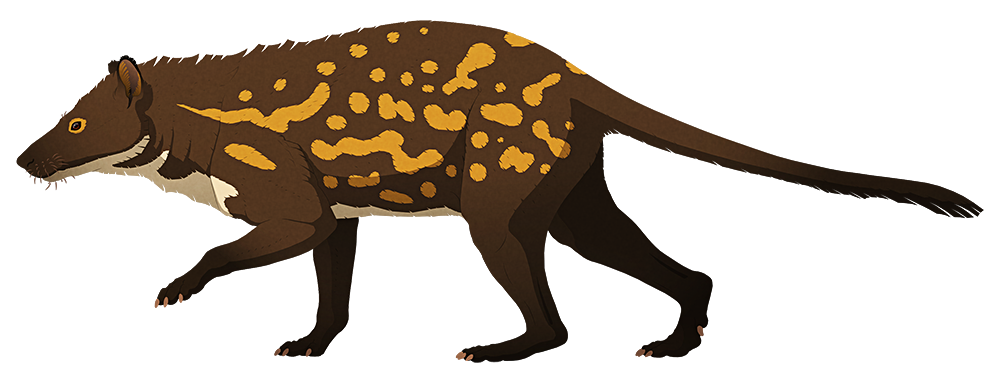 A stylized illustration of an extinct early ungulate mammal. It has a vaguely deer-like head, a dog-like body with clawed paws, and a long tail.