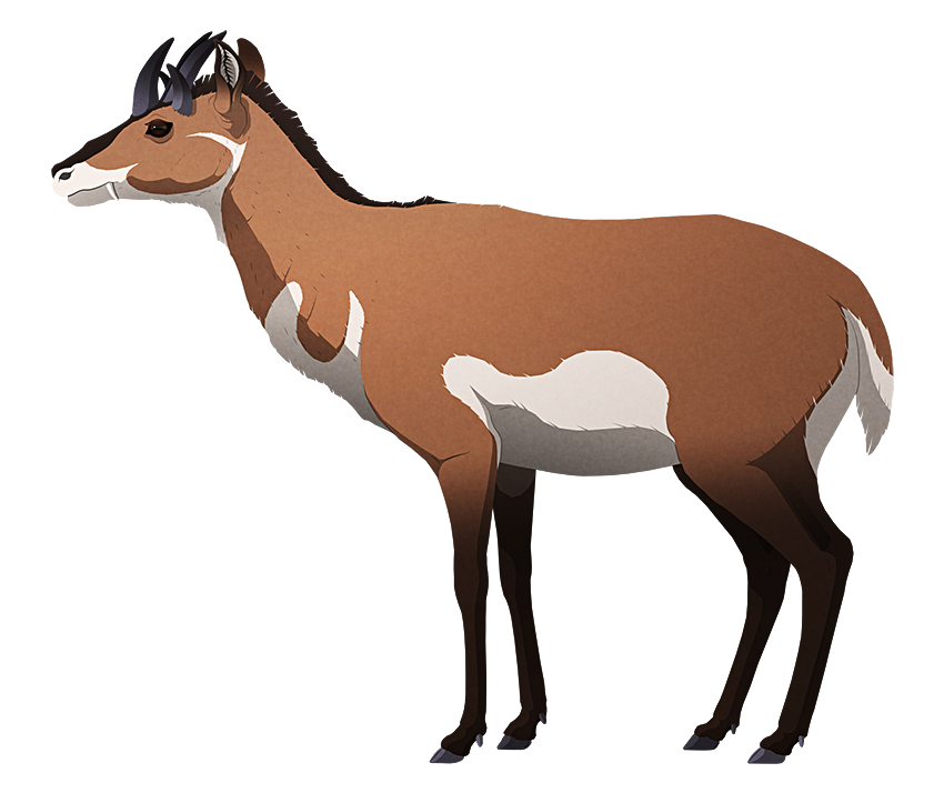 A stylied illustration of a deer-like mammal. It has five pointed horns on its head.