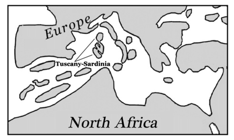 A map of the Mediterranean region during the Late Miocene, showing the location of the Tusco-Sardinian island.