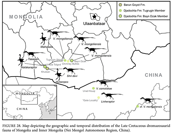 A map of the Gobi region of Mongolia and China, showing locations where various dromaeosaurid dinosaur fossils have been found.